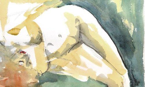 Berlin Drawing Room G Caruso Watercolor Figure life drawing nude redhead Thumb